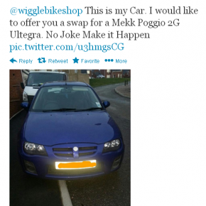 Wiggle swap bike for car in massive Twitter win