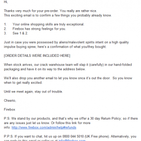 The best ecommerce confirmation email ever?