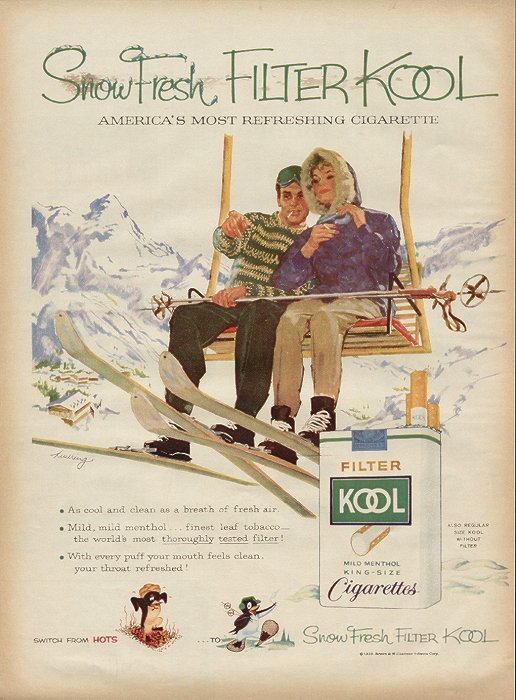 The classic sharing a fag on a chairlift shot