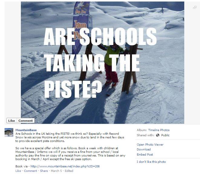MountainBase Facebook message