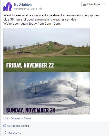 Mount Brighton Facebook post