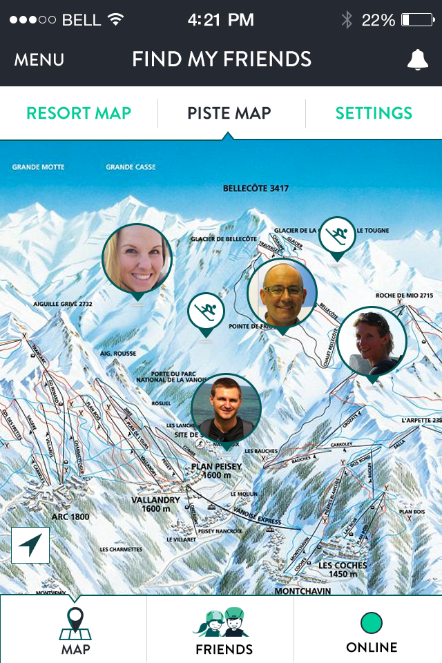 crystal ski friend finder app