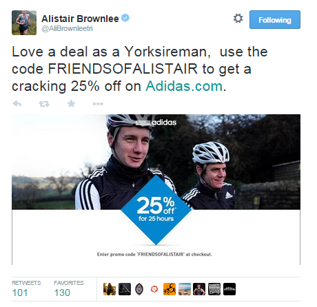 alastair brownlee adidas tweet