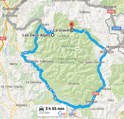 google map lda to la grave