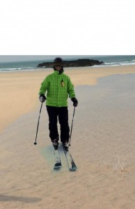 ski on the beach
