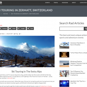 Zermatt ski touring article on Rad Season