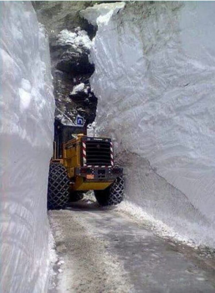 clearing snow from the col diseran in val d'isere